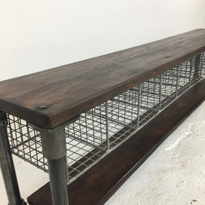 Vintage School Pigeon Hole Locker Room Bench