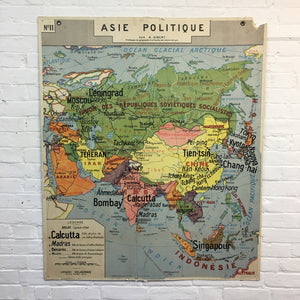 French Africa and Asia Vintage Map By Delagrave