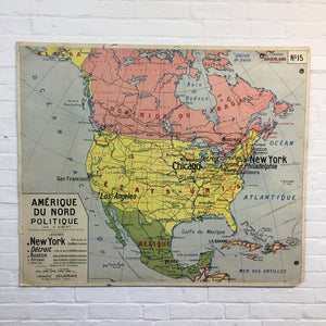 French School Americas Vintage Map By Delagrave