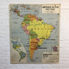Load image into Gallery viewer, French School Americas Vintage Map By Delagrave