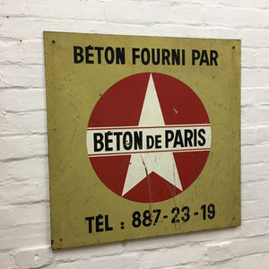 Industrial French Sign - Beton de Paris