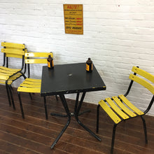 Load image into Gallery viewer, Black Yellow Metal French Bistro Tolix Table Chair Set
