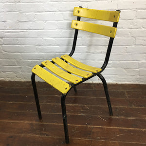 Black Yellow Metal French Bistro Tolix Table Chair Set