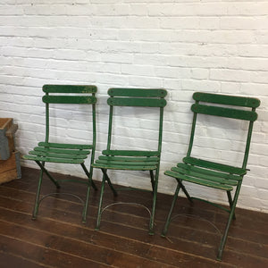 Folding Green French Vintage Garden Chair-3
