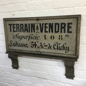 French Estate Agents Vintage Wooden Sign