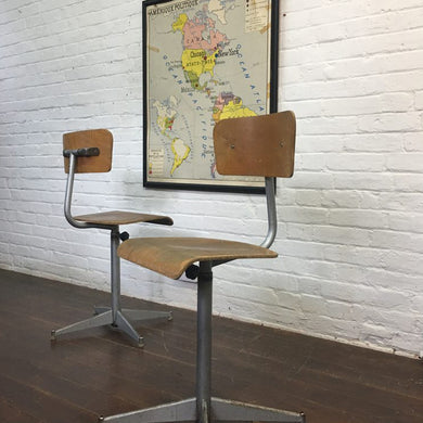 French School Silver Vintage Swivel Chair