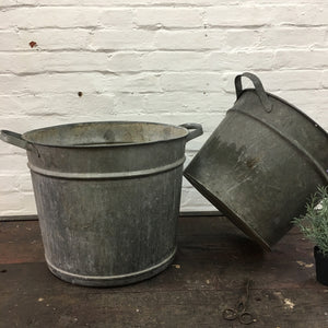 Galvanised Zinc Bucket Garden Planter