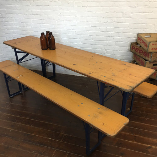 Original Beer Hall Table and Bench Set