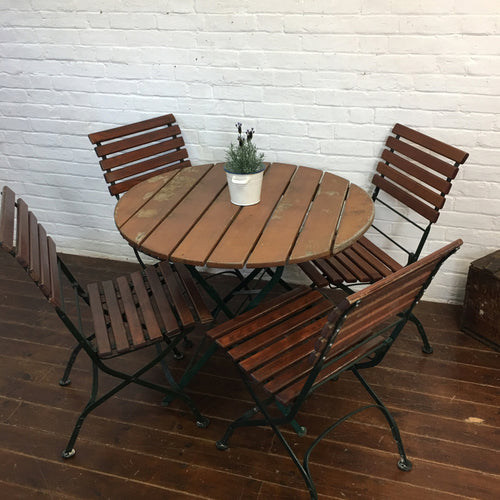 Round Munich Beer Hall Table and Chair Set