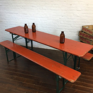 Vintage German Beer Hall Table and Bench Set-Red Orange