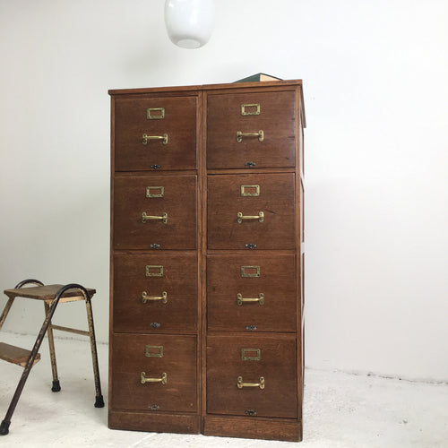 Antique Wooden Filing Cabinet Drawers