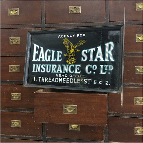 Eagle Star Antique Glass Sign