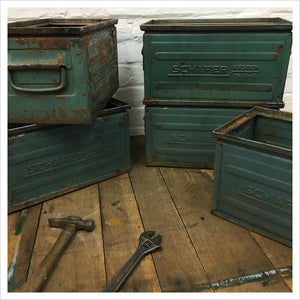 Vintage Blue Schafer Metal Crate