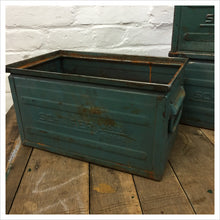 Load image into Gallery viewer, Vintage Blue Schafer Metal Crate