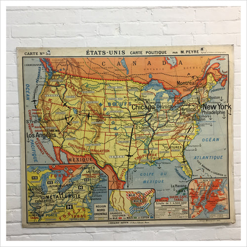 French Hatier Vintage Map of North America
