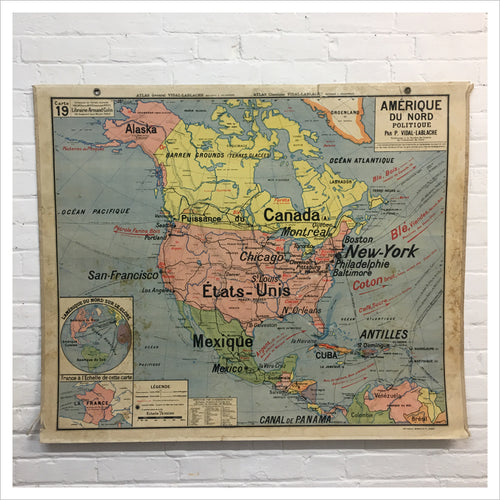 French School Vintage Map of North America