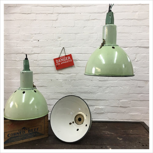 Green Soviet Factory Industrial Pendant Light