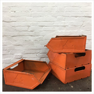 Large Orange Metal Vintage Storage Crate