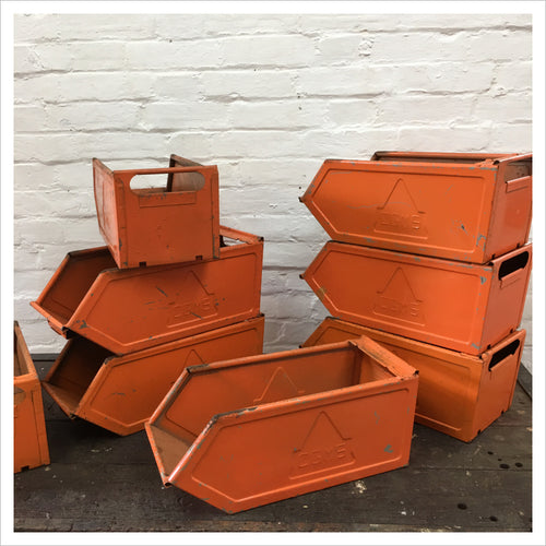 Small Orange Metal Vintage Storage Crate