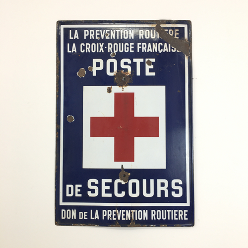 French Poste De Secours Vintage Enamel Sign