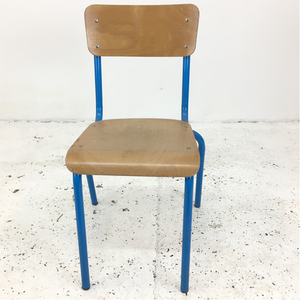 French School Blue Stacking Vintage Chair