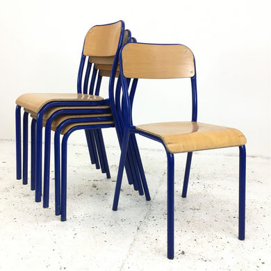 French School Curved Blue Stacking Vintage Chair