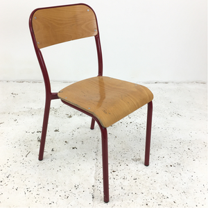French School Curved Red Stacking Vintage Chair