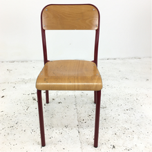 Load image into Gallery viewer, French School Curved Red Stacking Vintage Chair