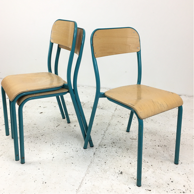 French School Curved Teal Stacking Vintage Chair