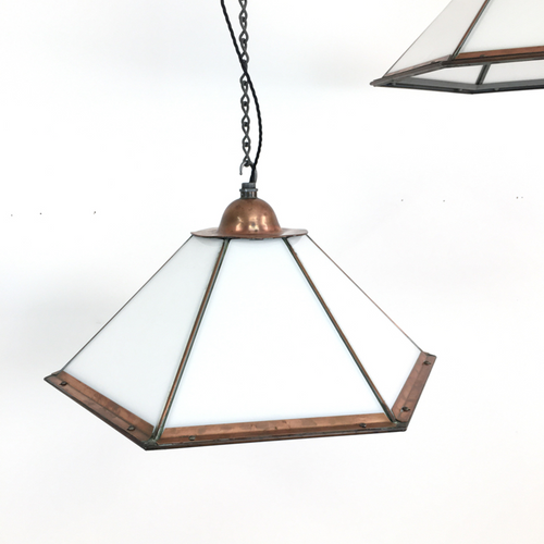 London Underground Copper Antique Opaline Light