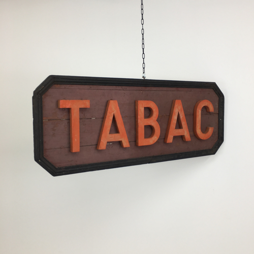 Original French Wooden Tabac Sign