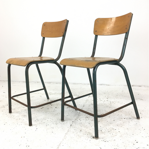 Original French School Tall Green Mullca Chairs