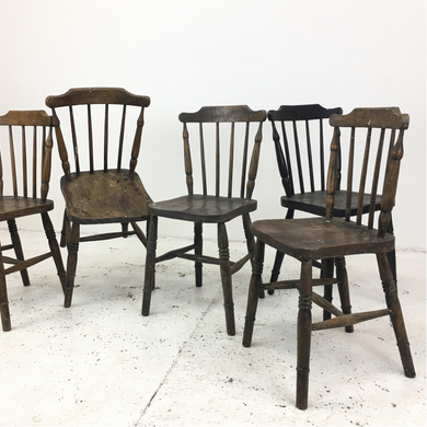 Set of Five Antique Fan Back Windsor Chairs