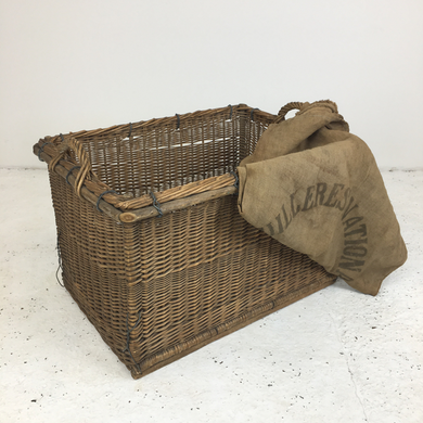 Vintage French Wicker Laundry Log Basket