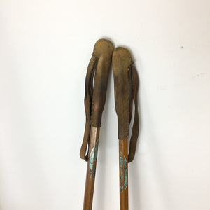 Vintage Wooden Skis Nipple Tip and Bamboo Poles