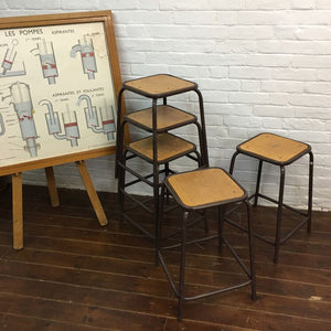 French Vintage School Lab Stools - Brown