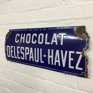 Original French Vintage Enamel Sign - Chocolat