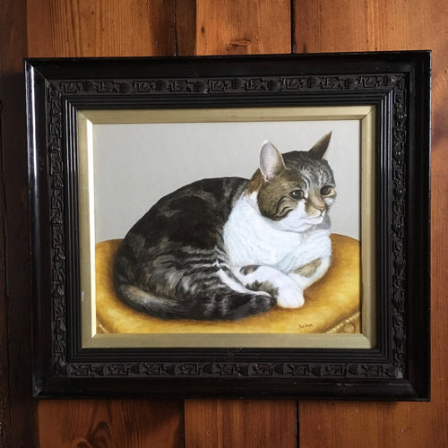 Tabby cat portrait watercolour painting