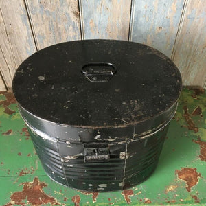 Black Victorian Hat Tin Trunk