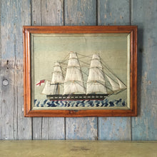Load image into Gallery viewer, 19th C Sailor's Woolwork Ship