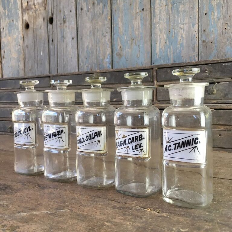 Set of 5 Small Vintage Apothecary Bottles