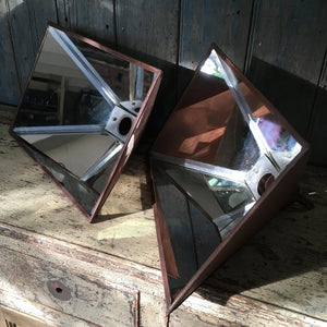 Pair of mirrored steel pendant lights