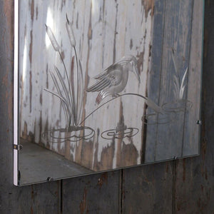 Engraved Kingfisher Decorative Mirror