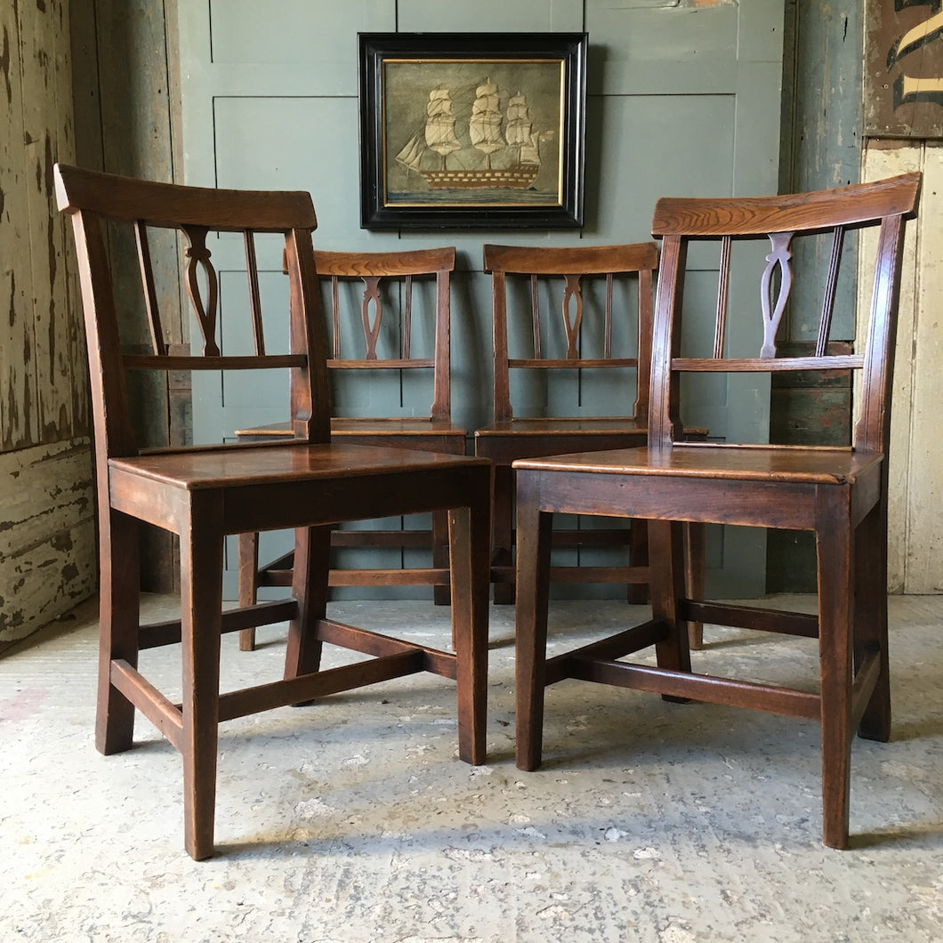 Four Georgian elm dining chairs - c1820-30