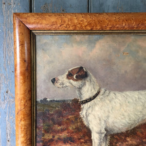 19th C fox terrier dog painting