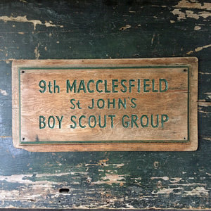 Vintage scout hut wooden sign