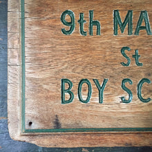 Load image into Gallery viewer, Vintage scout hut wooden sign