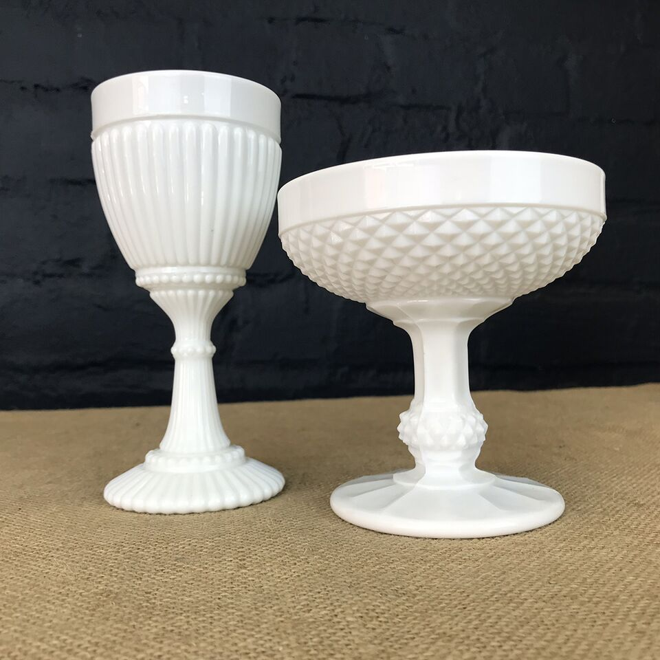 Set of Two Milk Glass Goblets