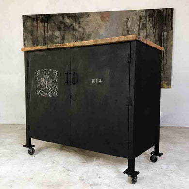 Vintage Industrial Steel Cabinet Locker Pine Top