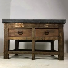 Load image into Gallery viewer, Vintage Industrial Pine Printers Table Zinc Top Kitchen Island